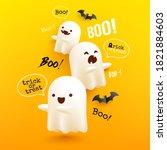 halloween flying ghosts poster... | Shutterstock .eps vector #1821884603