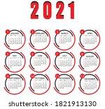2021 Calendar Design Vector 12...