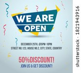 we are open join us and get 50  ... | Shutterstock .eps vector #1821943916