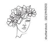 beauty woman face with flowers... | Shutterstock .eps vector #1821945053
