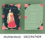 indian wedding card template... | Shutterstock .eps vector #1821967409