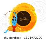 happy dussehra font with hindu... | Shutterstock .eps vector #1821972200