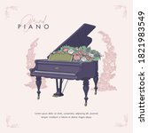hand drawn sketch of piano and... | Shutterstock .eps vector #1821983549