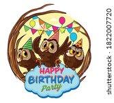 cartoon owls for happy birthday ... | Shutterstock .eps vector #1822007720