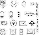 scroll down line icons  black...