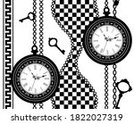 clock and chain seamless pattern | Shutterstock .eps vector #1822027319