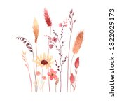 watercolor floral card with... | Shutterstock . vector #1822029173