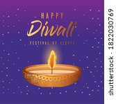 happy diwali candle on blue... | Shutterstock .eps vector #1822030769