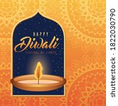 happy diwali candle with frame... | Shutterstock .eps vector #1822030790