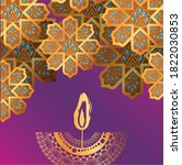 happy diwali candle and gold... | Shutterstock .eps vector #1822030853