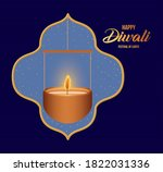 happy diwali hanging candle in... | Shutterstock .eps vector #1822031336