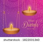 happy diwali hanging candles on ... | Shutterstock .eps vector #1822031360