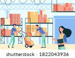 staff working in logistic... | Shutterstock .eps vector #1822043936