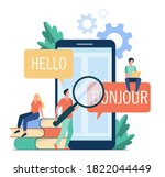translating app on mobile phone.... | Shutterstock .eps vector #1822044449