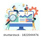 tiny analysts working with data ... | Shutterstock .eps vector #1822044476
