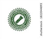 Green flashlight icon inside rubber seal.  - stock vector