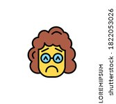 sad and in bad mood emoticon  | Shutterstock .eps vector #1822053026