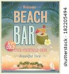 vintage beach bar poster.... | Shutterstock .eps vector #182205494