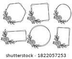 hand drawn floral frame logo... | Shutterstock .eps vector #1822057253