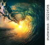 Colored Ocean Wave Breaking At...