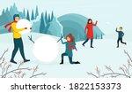 winter activities concept. the... | Shutterstock .eps vector #1822153373