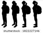 tourists with backpacks on... | Shutterstock .eps vector #1822227146
