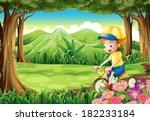 illustration of a boy biking in ... | Shutterstock .eps vector #182233184