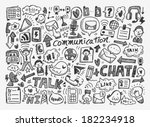 doodle communication background | Shutterstock .eps vector #182234918