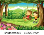 illustration of a girl and a... | Shutterstock .eps vector #182237924