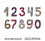 hand drawn ornamental numbers... | Shutterstock . vector #182239046
