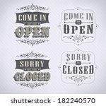open vintage retro signs ... | Shutterstock .eps vector #182240570