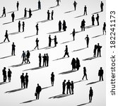 silhouette of crowd of business ... | Shutterstock . vector #182241173