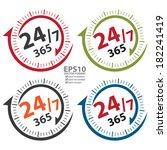 vector   24 7 365 days icon ...   Shutterstock .eps vector #182241419