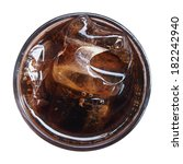 top view of cola with ice in... | Shutterstock . vector #182242940