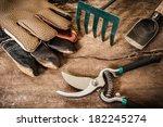 garden tool on grunge wood | Shutterstock . vector #182245274