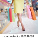 legs of shopaholic with
