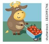 funny bull or cow  symbol of... | Shutterstock .eps vector #1822491746