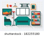 lounge or sitting room in house ... | Shutterstock .eps vector #182255180
