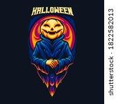 pumpkin halloween monster...   Shutterstock .eps vector #1822582013