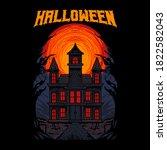 haunted house ghost vector...   Shutterstock .eps vector #1822582043