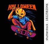 halloween skateboarding pimpkin ...   Shutterstock .eps vector #1822582046
