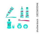 products for oral hygiene and... | Shutterstock .eps vector #1822603346