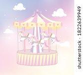 fun merry go round soft pastel... | Shutterstock .eps vector #1822639949