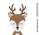 christmas reindeer cute smile... | Shutterstock .eps vector #1822654220