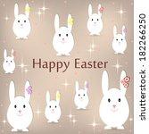 postcard with easter bunnies on ... | Shutterstock .eps vector #182266250