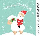 santa riding sheep illustration.... | Shutterstock .eps vector #1822673306