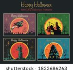 happy halloween retro greeting... | Shutterstock .eps vector #1822686263