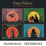 happy halloween retro greeting... | Shutterstock .eps vector #1822686263