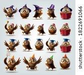 set of illustrated owls for... | Shutterstock .eps vector #1822691066