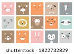 cute simple animal portraits ... | Shutterstock .eps vector #1822732829